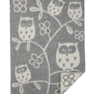 Tree Owl babyfilt ull light grey, Klippan Yllefabrik