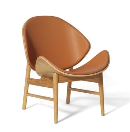 The Orange Lounge Chair Cognac Läder Vitoljad Ek
